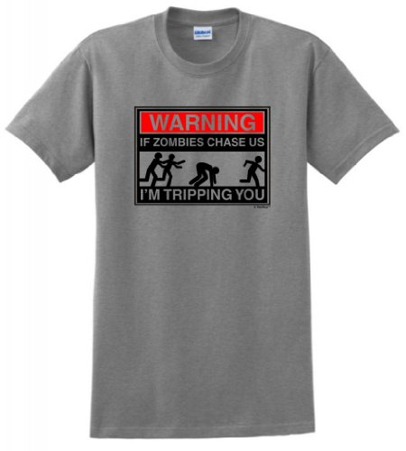 Warning Zombies Chase Tripping T Shirt