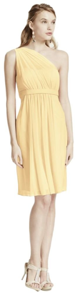 One Shoulder Short Bridesmaid Dress with Illusion Neck Style F15607, Canary, 12