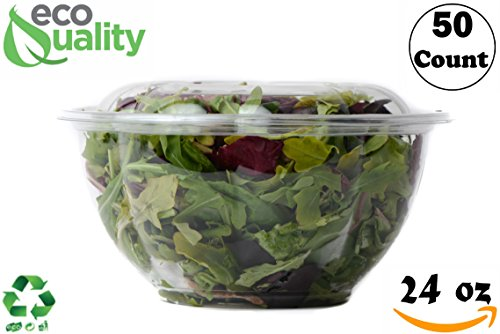 (24oz Salad Bowls To-Go with Lids (50 Count) - Clear Plastic Disposable Salad Containers | Airtight, Lunch, Salads, Parfait, Fruits, Leak Proof, Airtight, Fresh, Meal Prep | Rose Bowl Container (24oz))