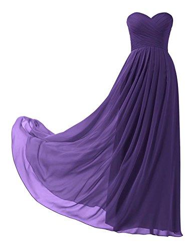 Abendkleider Ball Lila Abschlusskleid 139 Chiffon Abiball Brautjungfernkleider Elegant Trägerlos Lange UFqwfF6