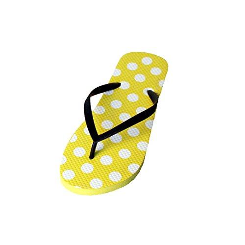 Ouneed® Flip Flops Damen Erwachsene Zehentrenner , Flip Mode Frauen Flops Slip on flache Sandale Pantoffel Sommer Strand Schuhe Gelb