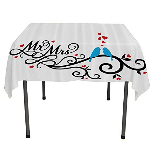 - Wedding Decorations, Wrinkle Free Anti-Fading Tablecloths Mr. and Mrs. Swirled Branches with Red Hearts and Two Birds Love Valentines, Home Decoration Outdoor, 54x54 Inch Red Blue Black