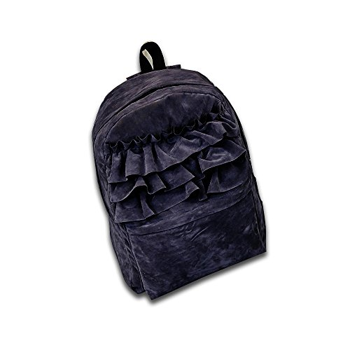 Grey Bags PetHot Velvet Black Backpack Satchel Light School Shoulder Students rwxT8vaqgT