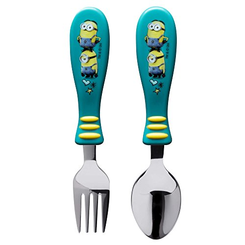 Zak Designs Despicable Me Easy Grip Flatware Fork And Spoon Utensil Set – Perfect for Toddler Hands With Fun Characters, Contoured Handles And Textured Grips, Despicable Me ()