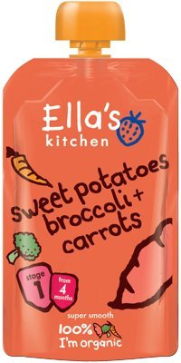 Ella's Kitchen - Stage 1 Baby Food - Sweet Potatoes Broccoli & Carrots - 120g (Pack of 5)