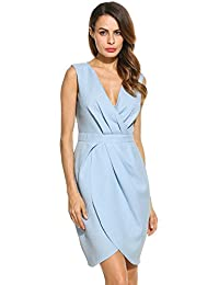 Meaneor Women V-Neck Ruched Waist Short Cocktail Bridesmaid Evening Dress
