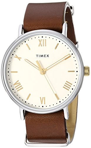 - Timex Men's TW2R80400 Southview 41 Brown/Cream Leather Strap Watch