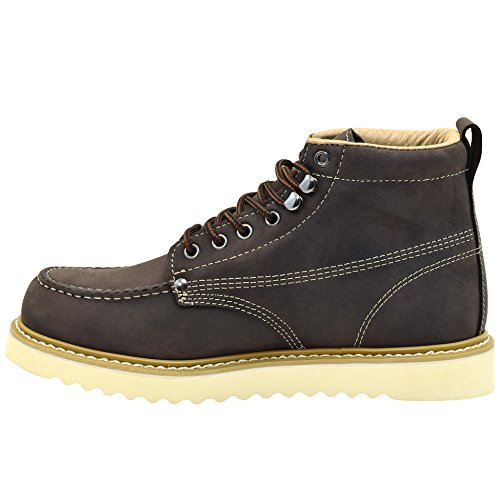 Golden Fox Mens Premium Leather Soft Toe Light Weight Industrial Construction Moc Work Boots Insulated Dark Brown 7gfMTT