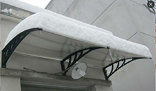 MCombo 39''×116''/39''x 78'' Window Overhead Door Awning Patio Outdoor Polycarbonate Cover Front Door Rain Sun Shetter Garden Canopy Hollow Sheet (40''x120'', Dark Brown Canopy/Black Bracket) by MCombo (Image #5)