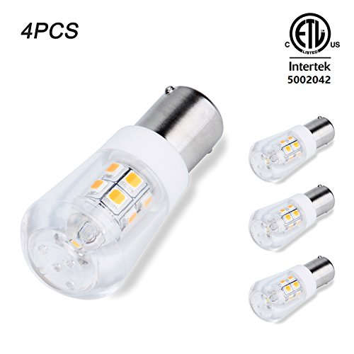 Jomitop 4 Pack BA15S S8 Bayonet Base LED Bulb Non-Dimmable 2W Waterproof CRI80 AC 12V OR DC 12-24V For Boat, RV, Car Soft Warm White (Point Single Drop)