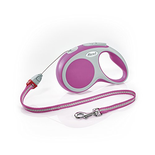 Flexi Vario Retractable Dog Leash (Cord), 26 ft, Small, Pink