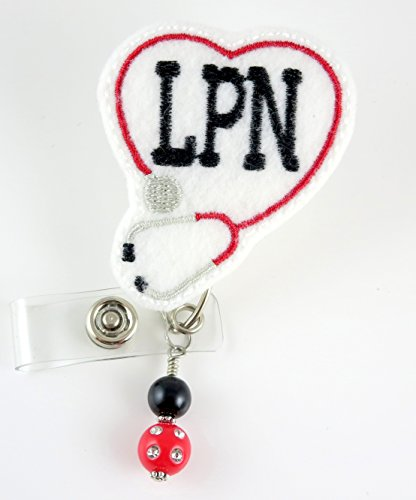 LPN Stethoscope - Nurse Badge Reel - Retractable ID Badge Holder - Name Badge Holder - Nurse Badge - Badge Clip - Badge Reels - Pediatric RN - Name Badge Holder
