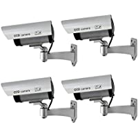 TMEZON 4 Pack Outdoor Dummy CCTV Security surveillance Camera with Blinking Light (Silver)