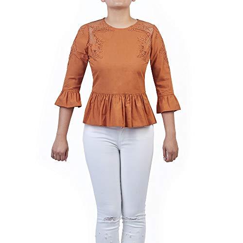 cklass Blusa con aplicación de Crochet Naranja XL