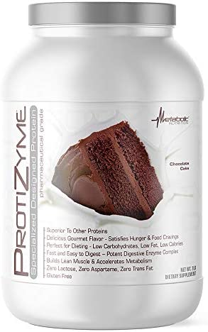 Metabolic Nutrition, Protizyme, 100 Whey Protein Powder, High Protein, Low Carb, Low Fat Whey Protein, Digestive Enzymes, 24 Essential Vitamins and Minerals, Chocolate Cake, 2 Pound 26 ser