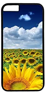 Sunflower Under the Blue Sky White Clouds DIY Rubber Black iphone 6 plus Case Perfect By Custom Service