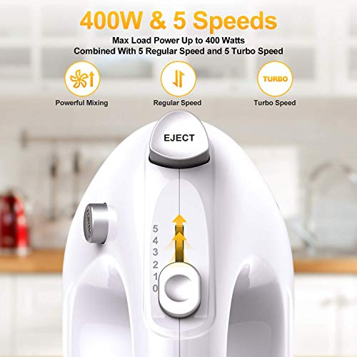 LILPARTNER Hand Mixer Electric, 400W Ultra Power Kitchen Mixer Handheld Mixer With 2x5 Speed (Turbo Boost & Automatic Speed) + Storage Box + 5 Stainless Steel Accessories Food Mixer for Cream, Cake