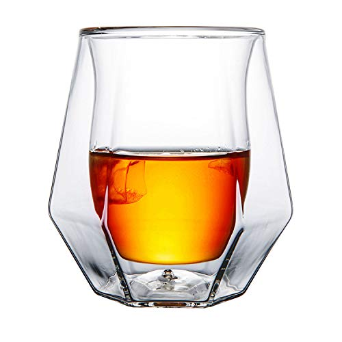 Gootus Whiskey Glasses Set of 2 – Hand Blown Double Walled Glass with Premium Gift Box – Perfect for Whiskey, Scotch…