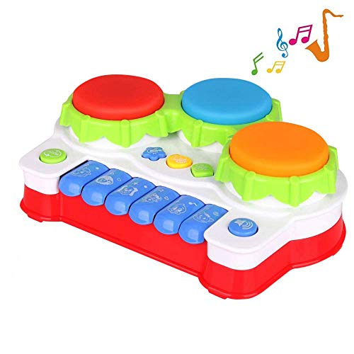 41sxusTLXXL - TINOTEEN Baby Musical Toys for Toddler, Piano and Drum Musical Instruments Toys