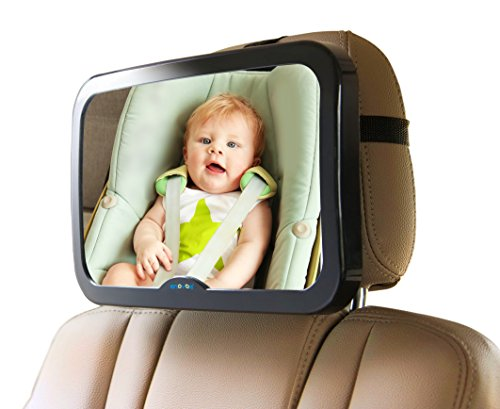 Baby Mirror for Car with Bonus Cleaning Cloth - Wide, Convex Rear Facing Backseat Mirror is Shatterproof and Adjustable - 360 Swivel Car Seat Mirror helps you keep an eye on your Infant or Child