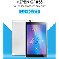 Azpen G1058 10 4G LTE Quad Core Android Unlocked Phone Tablet with Bluetooth GPS Dual Cameras