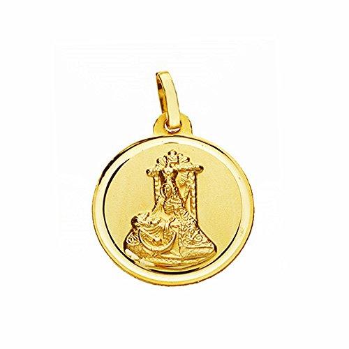 Médaille pendentif or 18k Douleurs Vierge 18mm. lunette lisse [AA2560]