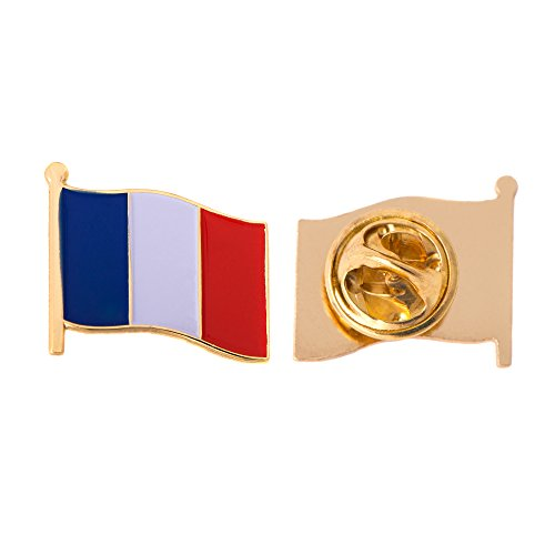 France Country Flag Lapel Pin Enamel Made of Metal Souvenir Hat Men Women Patriotic French (Waving Flag Lapel Pin) - France Country Flag