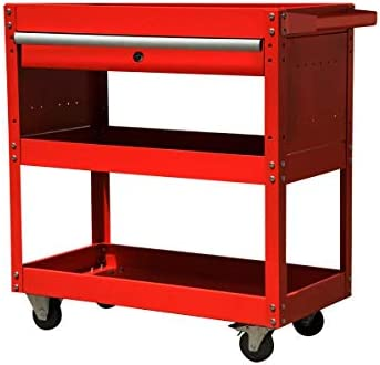High Capacity Tool Cart Tool Chest, 4 Wheels Removable Tool Cart,Big Tool Storage Cart with Lock,Rolling Tool Cart for Warehouse or Office Workshop RED