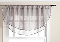 Stylemaster Elegance 60 by 24-Inch Sheer Voile Ascot Valance, Silver