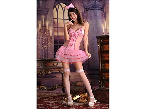 Hot Lingerie Maid Cosplay Sexy Uniform Nurse Role Playing Suit Nurse Costume Nightwear Game wear Erotic Lingerie Set_(Pink) ()