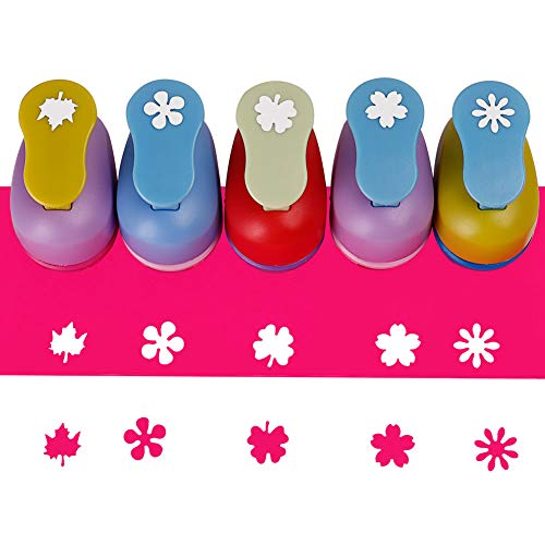 SICOHOME Paper Punches,Pack of 5,Maple Leaves/Clover/Cherry Blossoms/Daisies/Catharanthus - Flower Craft Punch
