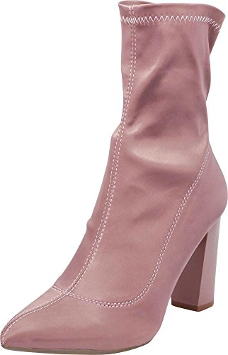 - Cambridge Select Women's Closed Pointed Toe Soft Stretch Sock Style Slip-On Chunky Block Heel Ankle Bootie,9 B(M) US,Mauve Satin