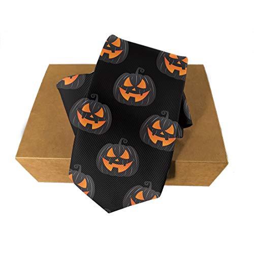 Halloween Polyester Neckties, Formal Slim Halloween Party Night Pumpkin Black Necktie, Men & Boys Slim Suit Outfit Ties, Elegant and Smooth for Bridegroom, Wedding Party Decoration Gift Ties