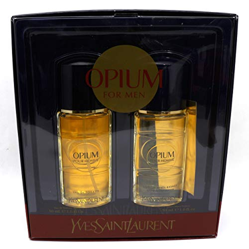 1.6 Opium Ounce Edt - OPIUM FOR MEN by Yves Saint Laurent 2 pcs Gift Set (1.6 oz EDT Spray + 1.6 oz After Shave Lotion)