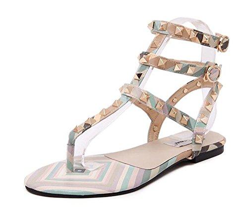 YEEY Clip Toe talón redondo peep remache tobillo correas sandalias para mujeres imitación perlas verano playa poste sandalias flip flop zapatos Green