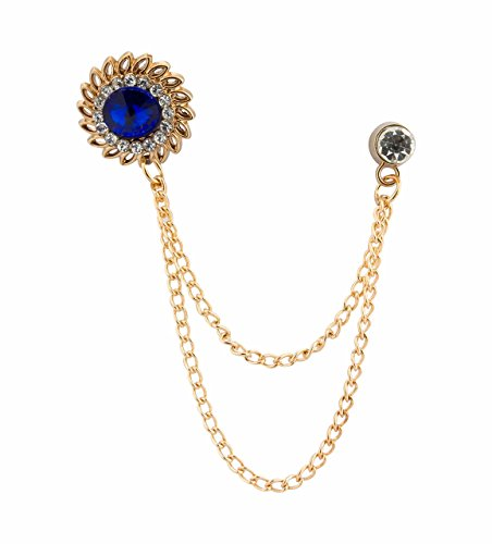 Chain Brooch - Knighthood Men's Royal Blue Stone with Inspired Swarovski Detailing Hanging Chain Lapel Pin/Brooch Golden