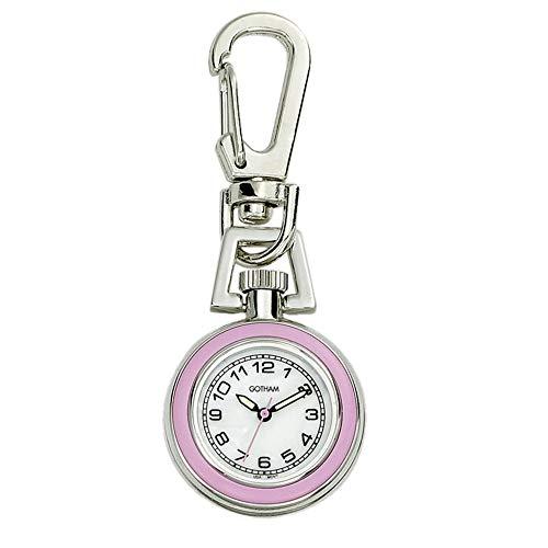 (Gotham Unisex Silver-Tone Analog Quartz Keychain Clip Fob Watch # GWC18107-5)