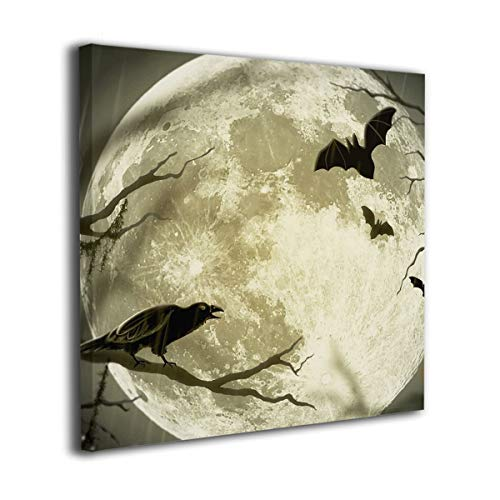 Mintslove Halloween Moon Illustration Art Colorful Unframed Decorative Painting Canvas Wall Art Hanging Picture Artwork Wall Decoration for Living Room Bedroom Home Decor]()