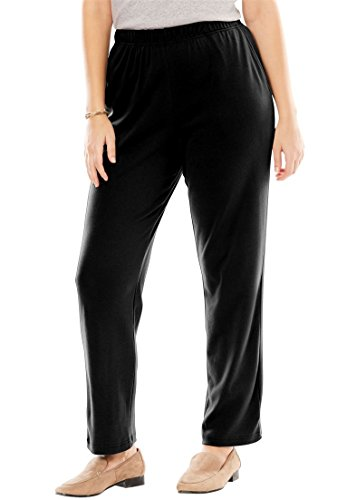 Women's Plus Size Petite Straight Leg 7-Day Knit Pants Black,2X