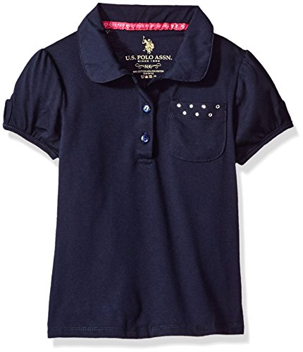 (U.S. Polo Assn. Little Girls' Polo Shirt (More Styles Available), Jersey Navy-IHVDD, 5/6)