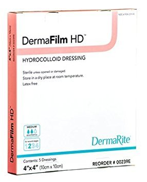 DermaRite DermaFilm Hydrocolloid Dressing - X-Thin - 4 X 4 Inch - Box by DermaRite