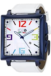 3H Women's CA06 Cube Blue PVD Automatic White Dial Interchangeable Band Watch