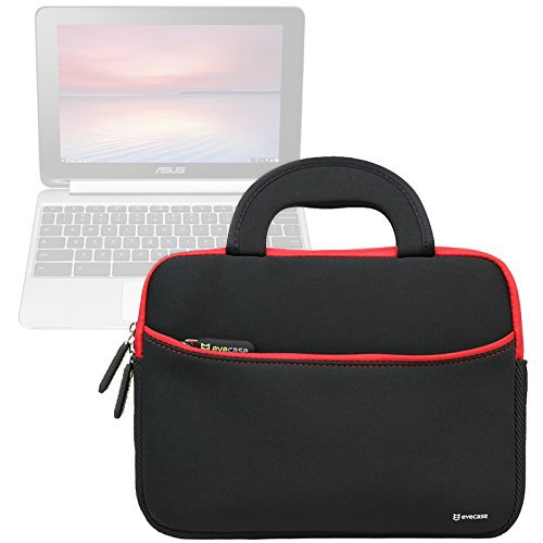 Evecase ASUS Chromebook Flip C100PA 10.1 Inch Touch Chromebook Sleeve Case, Neoprene Slim Briefcase w/ Handle & Accessory Pocket / Ultra Portable Carrying Case Portfolio Pouch Cover - Black