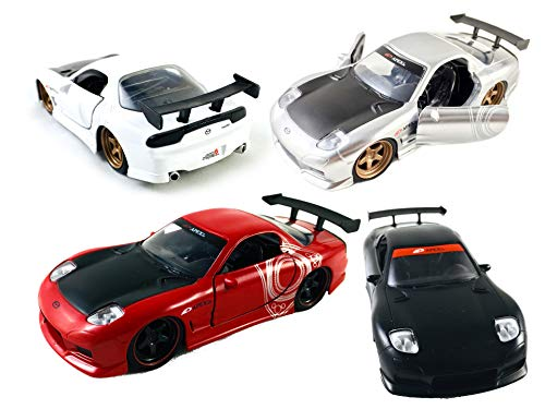 Rx Red Car Mazda 7 - HCK Set of 4 1993 Mazda RX-7 Pull Back Toy Cars 1:32 Scale (Black/Silver/White/Red)