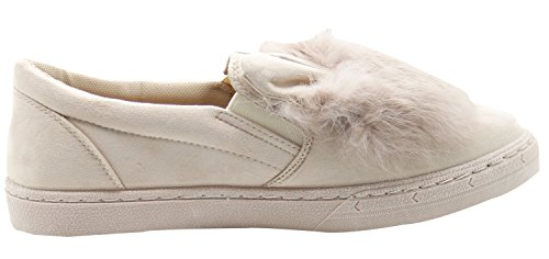 Ladies Suede Loafers Fur Flats Casual Sneakers Shoes Pumps Beige Dqync