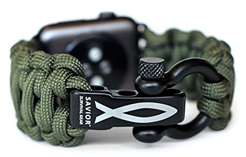 Savior Survival Gear Paracord Watch Band Compatible with Apple 42mm and 44mm Apple Watch - Paracord Watch Band with Stainless Steel Adjustable Shackle (550 Paracord, Green, Large)