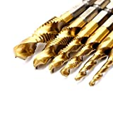 Sunxenze 6Pcs Titanium Combination Drill and Tap