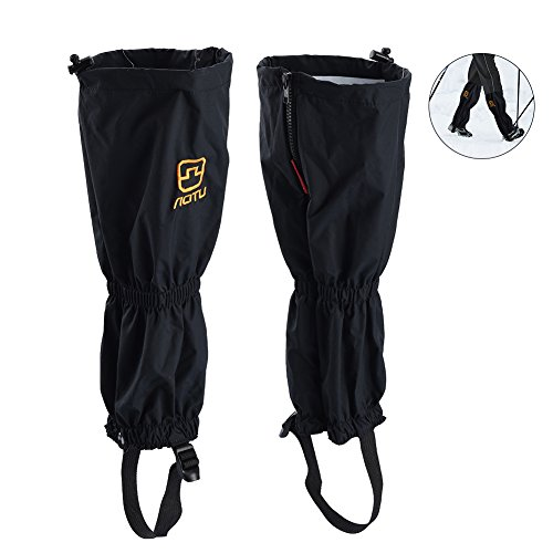 RUNACC Waterproof Shoes Cover Closure Leg Gaiters Dirtproof Leggings Cover for Hiking, Walking and Climbing, Black
