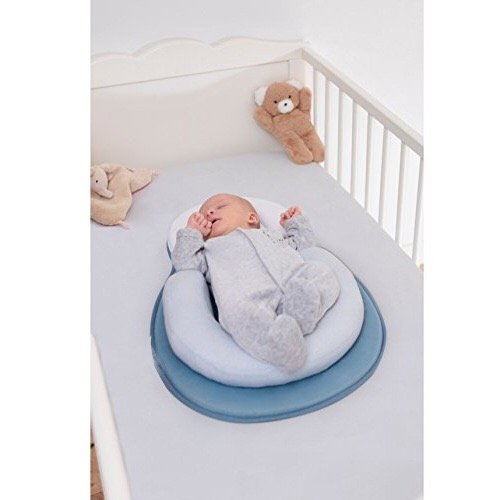 JJ Portable Baby Bed Mattress Baby Pillow for Newborn Baby and Infant Flat Head Syndrome Prevention Anti-Roll Adjustable Size Crib Mattress (Sky Blue)