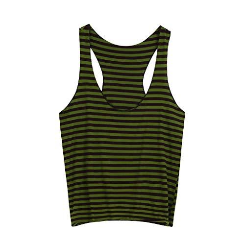 PASHY Summer Beachwear Brand Striped Y-Back Deep V Neck Muscle Tanktop Straight Bottom - Sleeveless T Shirt Green by PASHY (Image #1)